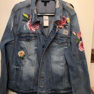 Lane Bryant Jean Jacket with floral detail